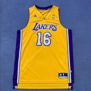 """LA Lakers """"Gasol #16"""" Basketball Jersey Size Large"""